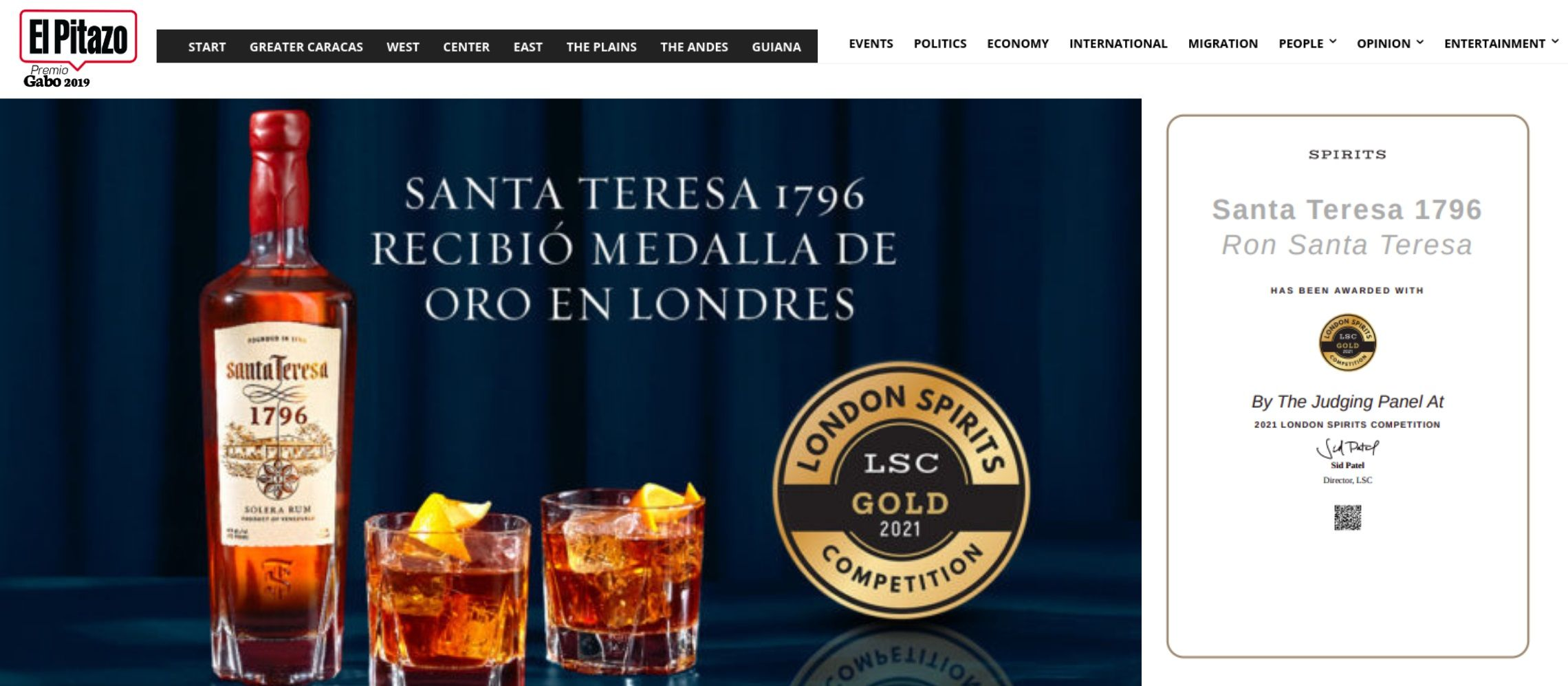 Photo for: Saint Teresa 1796 Received A Gold Medal At The London Spirits Competition
