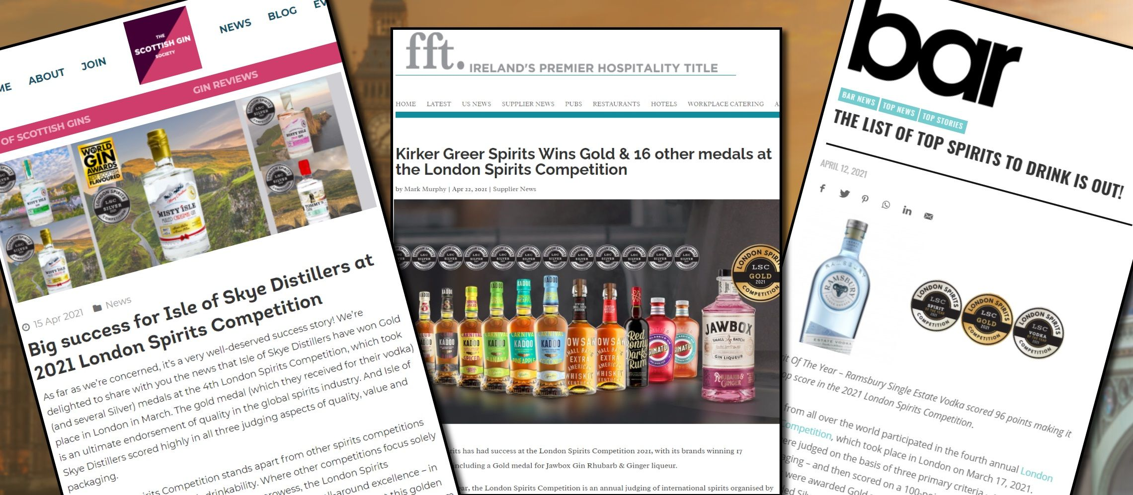 Photo for: Extensive Media Coverage for London Spirits Competition Winners